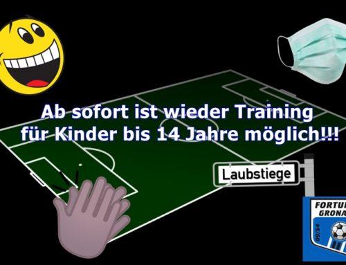 Training in Zehner-Gruppen für bis zu 14-jährige möglich